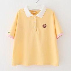 Meimei - 曲奇刺绣短袖马球衫