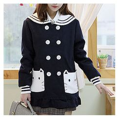 Sechuna - Sailor-Collar Double-Breasted Coat