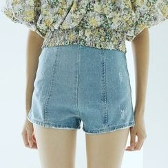 Sens Collection - Zip Back High Waist Denim Shorts