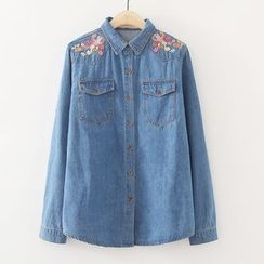 ninna nanna - Embroidered Denim Blouse