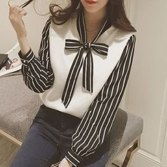 Eva Fashion - Tie-collar Pinstriped Panel Chiffon Blouse