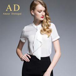 Aision - Set: Short-Sleeve Paneled Blouse + Plain Skirt