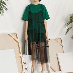 Heynew - Mock Two-piece Short-Sleeve Mesh Dress