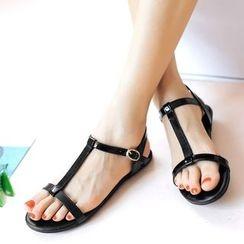 ZIMA - T-Strap Patent Sandals