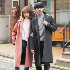 TOMONARI - Couple Notched-Lapel Single-Breasted Long Coat