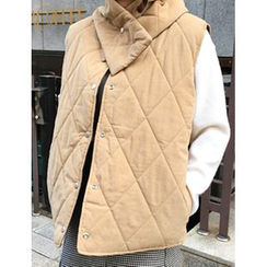 FROMBEGINNING - Reversible Quilted Button Vest with Scarf