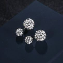 Zundiao - Sterling Silver Rhinestone Earrings