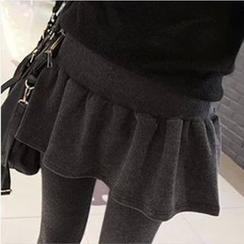 Lacyland - 假两件打褶裥内搭裤