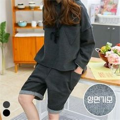 PINKSISLY - Set: Hooded Brushed Fleece Lined Sweatshirt + Sweat Shorts