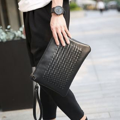 BagBuzz - Faux Leather Woven Clutch