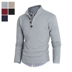 DANGOON - Mock-Neck Long-Sleeve Henley