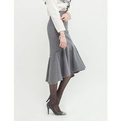 GUMZZI - Ruffle-Hem Midi Skirt