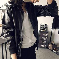 Happy Bird - Faux-Leather Zip Jacket