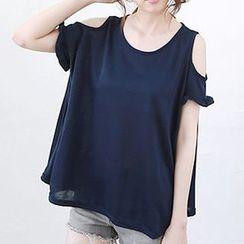 Katie Bloom - Short-Sleeve Shoulder Cut Out T-Shirt