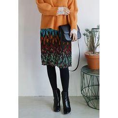BBORAM - Elastic-Waist Chevron Pattern Skirt