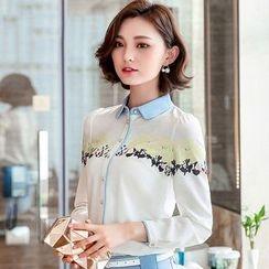 Eferu - 印花雪纺衬衫