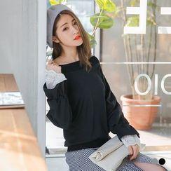 OrangeBear - Lace Panel Sleeve Pullover