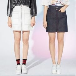Heynew - Zip Front A-Line Skirt