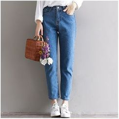 Snow Flower - High Waist Baggy Jeans