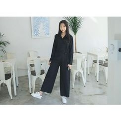 Envy Look - Button-Front Tie-Waist Jumpsuit