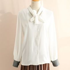 11.STREET - Tie-Neck Long-Sleeve Blouse