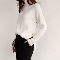 NIPONJJUYA - Button-Side Wool Blend Knit Top