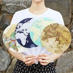 Full House - Indigo - Map Hand Fan