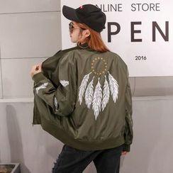 HAZEL - Embroidery Feather Zip Jacket