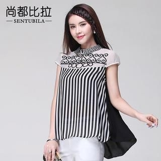 Sentubila - Cap-Sleeve Embroidered Striped Chiffon Blouse