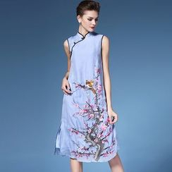 Elabo - Embroidered Sleeveless Cheongsam