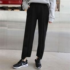 QNIGIRLS - Band-Waist Asymmetric-Hem Pants