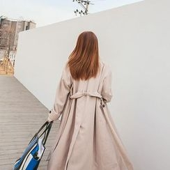 DABAGIRL - Stand-Collar Long Trench Coat with Sash