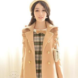 Dabuwawa - Wool-Blend Ruffle Double-Breasted Coat