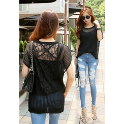 REDOPIN - Sheer Laced Knit Top
