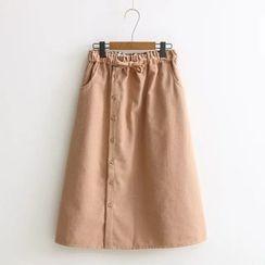 Aigan - 抽繩飾扣A字短裙