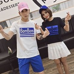 Azure - Couple Matching Lettering Short Sleeve T-Shirt