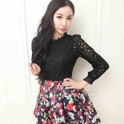 Miss Aries - Long-Sleeve Mock-Neck Lace Top