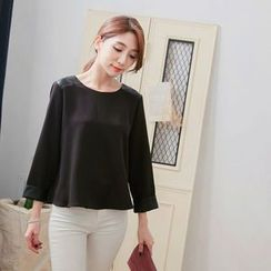 Tokyo Fashion - Faux Leather Panel Loose Fit Blouse