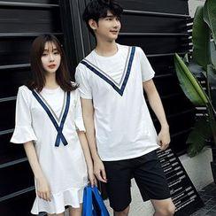 尚雅姿 - 情侶款山形紋短袖T恤 / T恤連衣裙