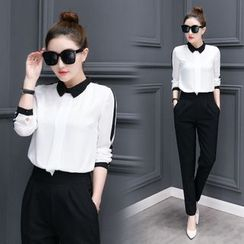 Mandalle - Set: Contrast Trim Chiffon Shirt + High Waist Pants