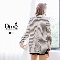 Tokyo Fashion - Lace Panel Striped Shirt