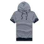 MR.PARK - Short-Sleeve Striped Hooded Top