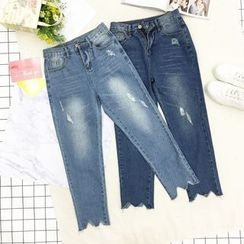 About a Girl - Distressed Asymmetric Hem Jeans