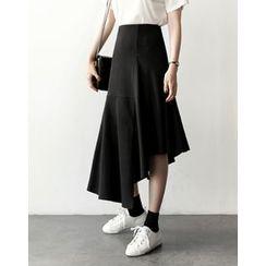 UPTOWNHOLIC - Asymmetric-Hem Ruffle-Hem Skirt