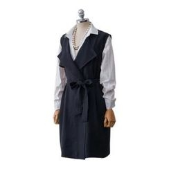 PEPER - Sleeveless Trench Coat with Sash
