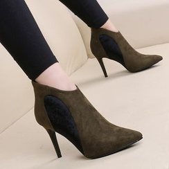 Lemon Tree - Faux Suede Panel High-heel Ankle Boots