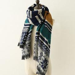 Meimei - Jacquard Tassel Knit Scarf