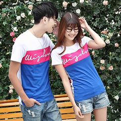 Igsoo - Couple Matching Color Block Short-Sleeve T-Shirt