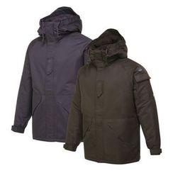 Seoul Homme - Hooded Pocket-Sleeve Parka