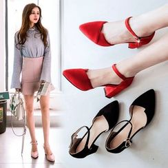 Shoes Galore - Faux-Suede Pointy-Toe Chunky-Heel Pumps